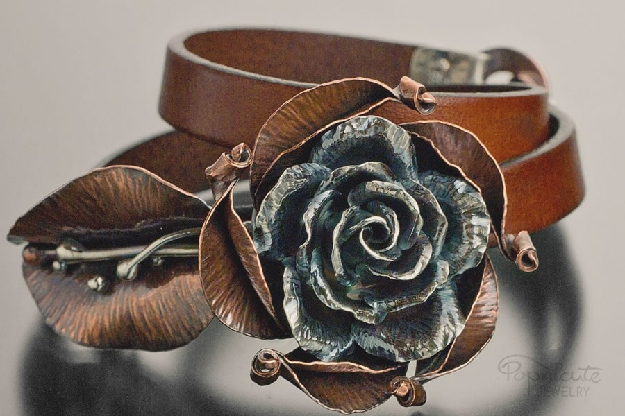 bespoke jewelry camilla rose sterling silver leather bracelet