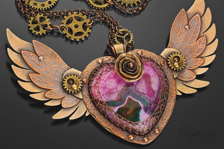steampunk winged heart brass copper popnicute