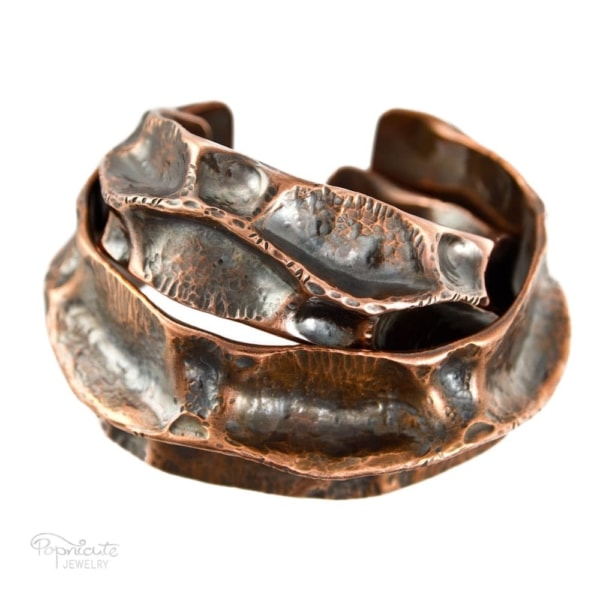 wide copper pipe cuff bracelet by popnicute jewelry