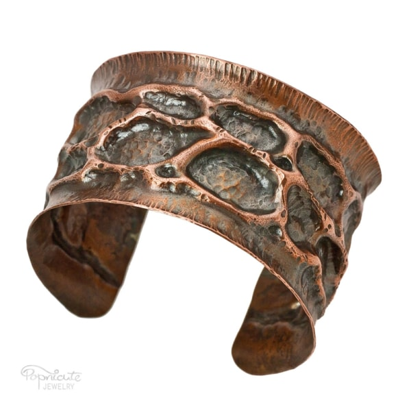 Moon Crater Cuff Copper Bracelet by Popnicute Jewelry