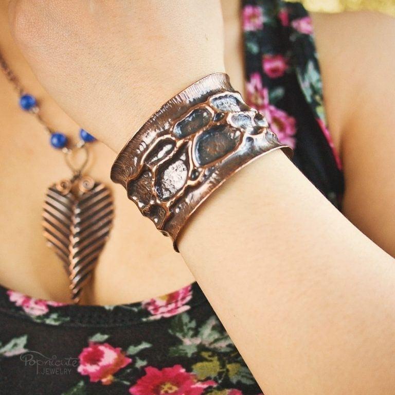 Moon Crater Cuff Copper Bracelet by Popnicute Jewelry