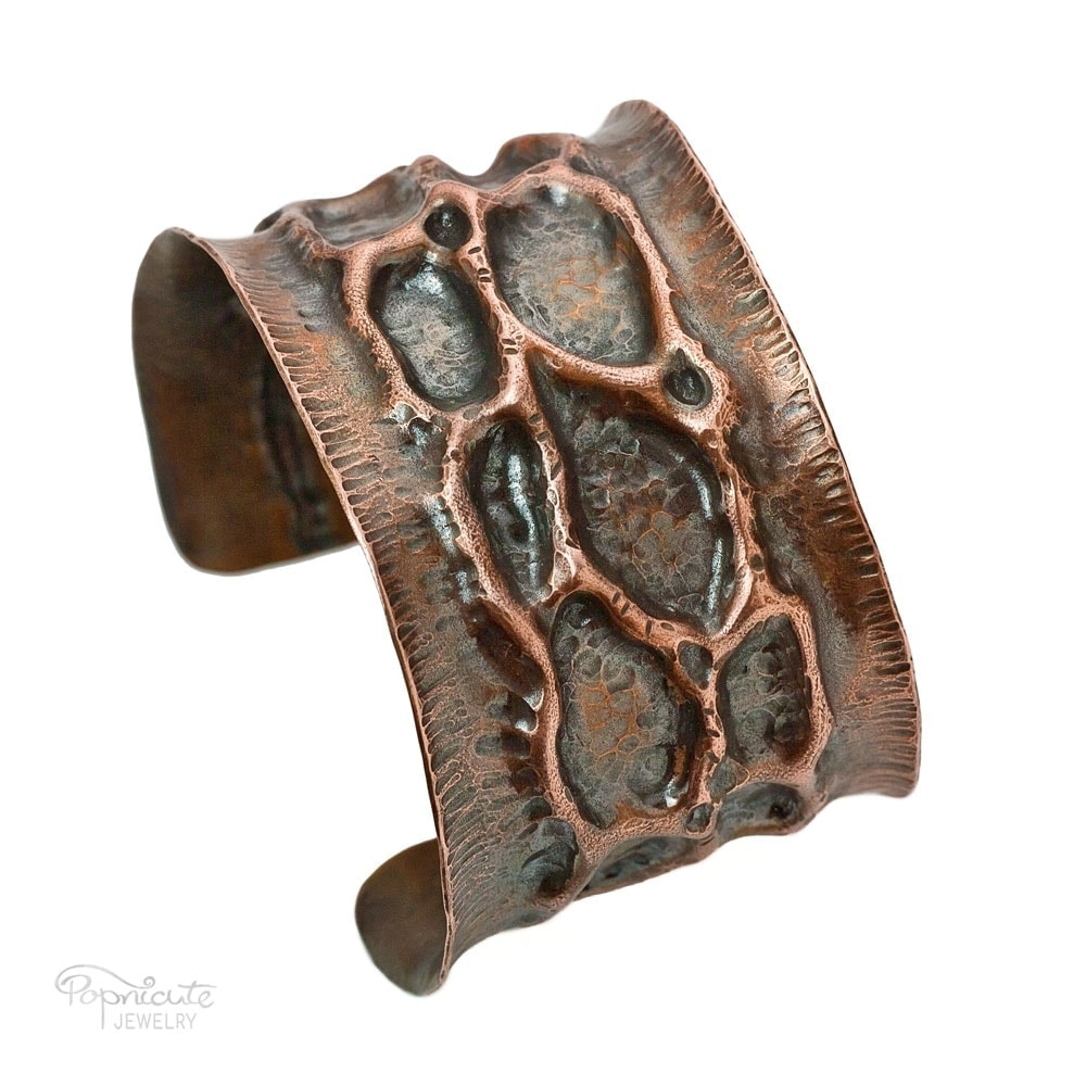 Moon Crater Copper Cuff Bracelet by Popnicute Jewelry
