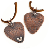Custom etched guitar pick by popnicute jewelry