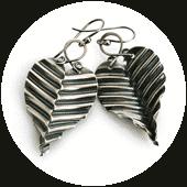 corrugated silver leaf earrings by popnicute jewelry