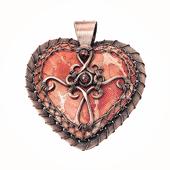 copper jasper cross popnicute hearts pendant necklace by popnicute jewelry