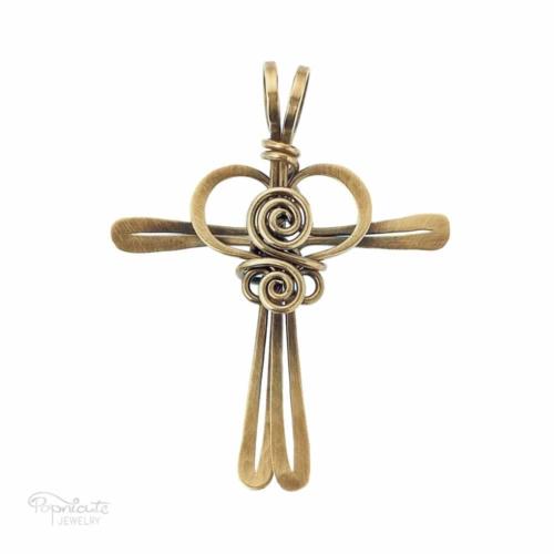 Cross My Heart – Brass Pendant