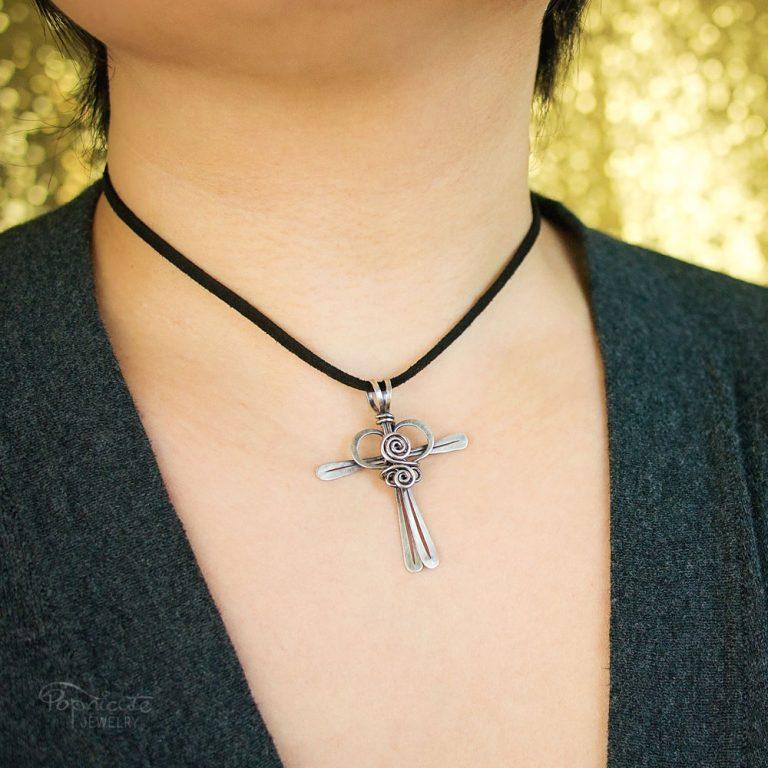 Cross My Heart – Copper Pendant