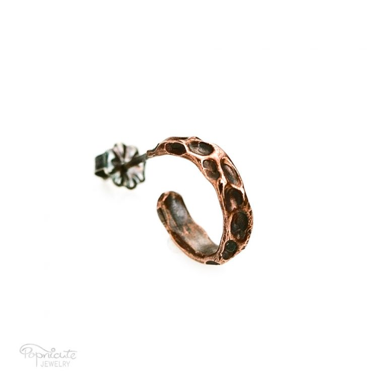 Moon Crater Copper Ear Stud – Single