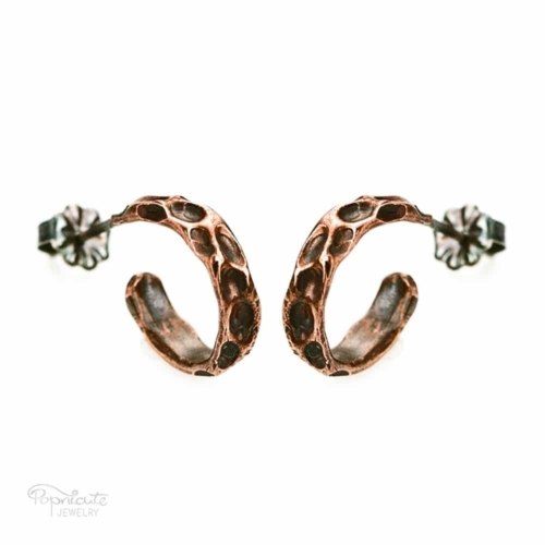 Moon Crater Copper Ear Studs