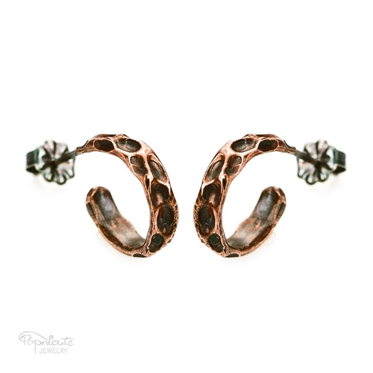 Moon Crater Copper Hoops – Pair