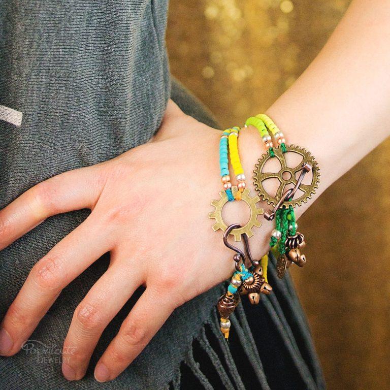 Boho Steampunk Bracelet – Lime Green
