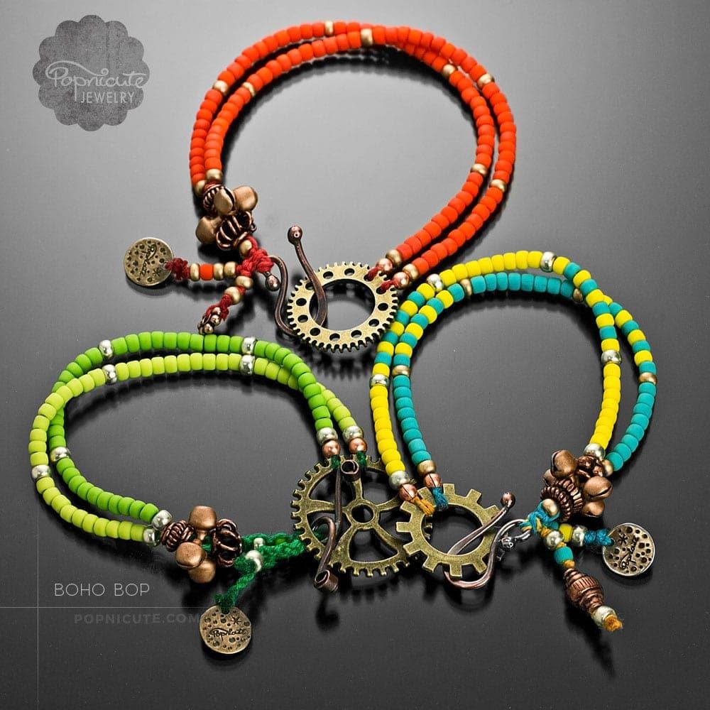 Boho Steampunk Gear Charm Bracelets