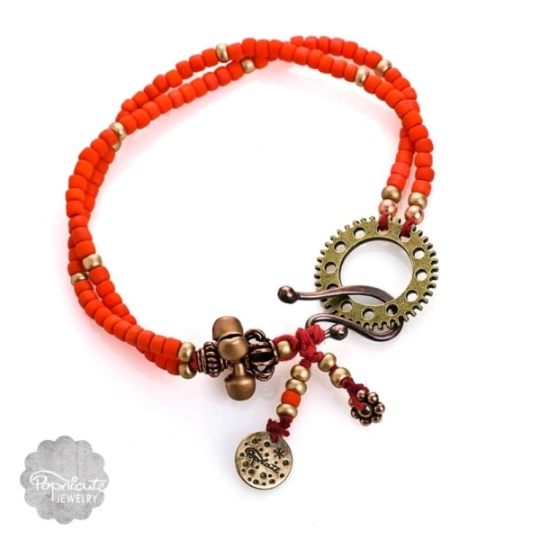 Orange Boho Steampunk Charm Bracelets