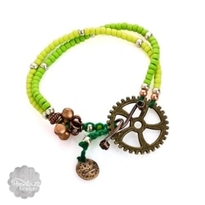 Boho Steampunk Bracelet – Lime Green