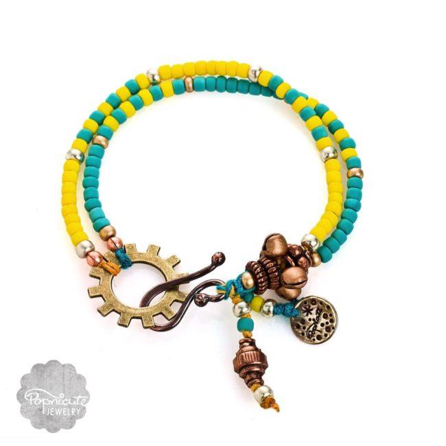 Blue Yellow Beaded Charm Bracelet