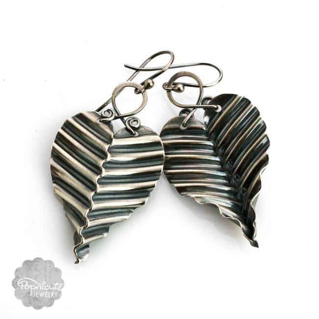 corrugated sterling silver leaf earrings