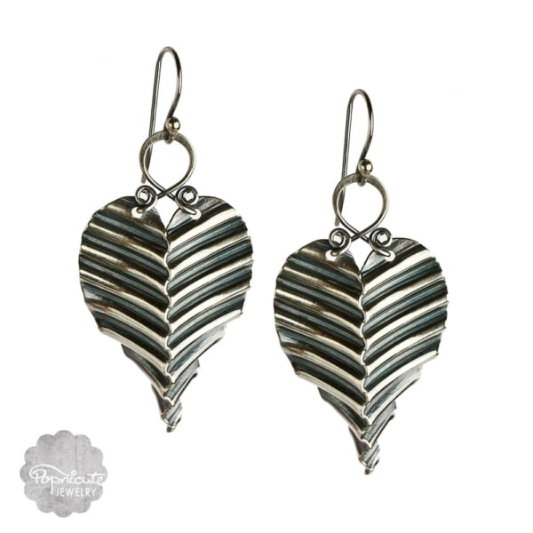 corrugated sterling silver leaf earrings