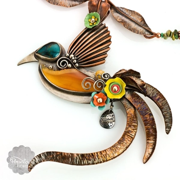 Cendrawasih Bird of Paradise, Bird Statement Necklace by Popnicute Jewelry