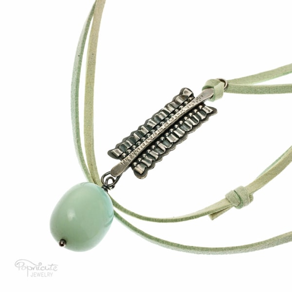 Mini Ruffles Sterling Silver Aquamarine Necklace by Popnicute Jewelry.