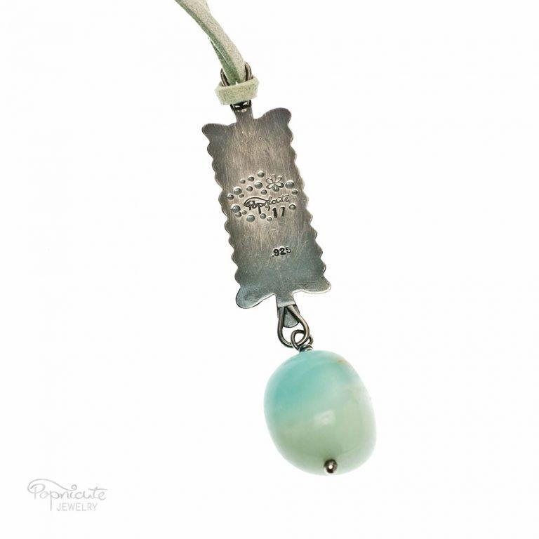 Mini Ruffles Sterling Silver Aquamarine Necklace by Popnicute Jewelry. Back side.
