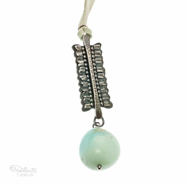 Mini Ruffles Sterling Silver Aquamarine Necklace by Popnicute Jewelry.