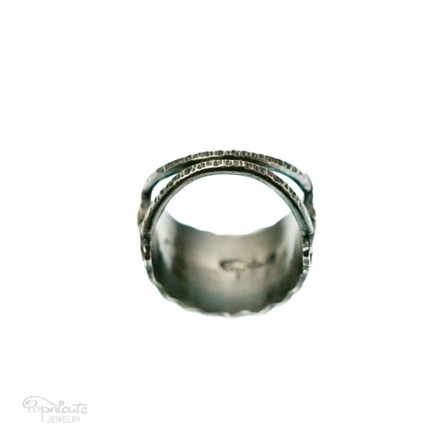 Wide Band Sterling Silver Ring Handmade Jewelry by Popnicute Jewelry. Back view