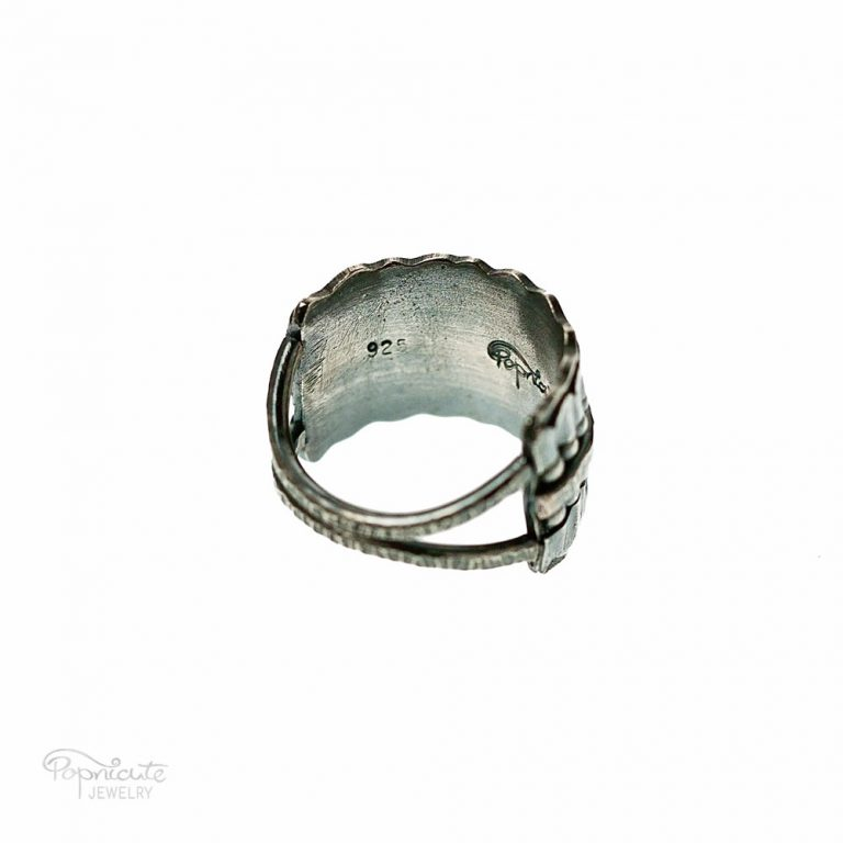 Wide Band Sterling Silver Ring Handmade Jewelry by Popnicute Jewelry. Back detail