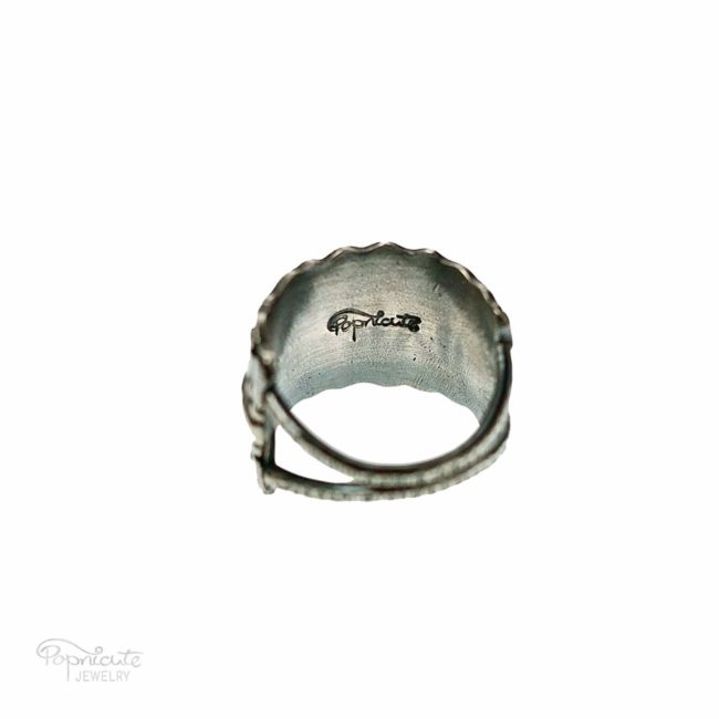 Wide Band Sterling Silver Ring Handmade Jewelry by Popnicute Jewelry. Back side