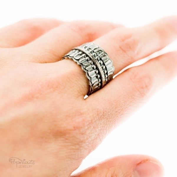 Wide Band Sterling Silver Ring Handmade Jewelry by Popnicute Jewelry.