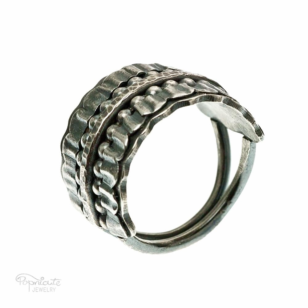 Wide Band Sterling Silver Ring Handmade Jewelry by Popnicute Jewelry. Pre-order now. Preorder period: June 8 - 25, 2017. Product will ship July 10 - 17, 2017. Get bonus with pre-order purchase of $200!