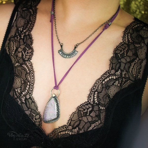 Sterling Silver Lepidolite Ruffles Pendant Necklace by Popnicute Jewelry. Pre-order period: June 8 - 25, 2017. The product will ship July 10 - 17, 2017. Get a bonus with pre-order purchase of $200!