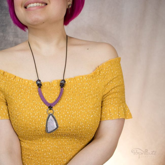 Sterling Silver Lepidolite Ruffles Pendant Necklace by Popnicute Jewelry. On model.
