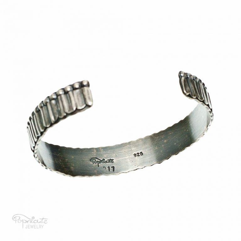 Unisex Skinny Sterling Silver Cuff by Popnicute Jewelry. Bottom view