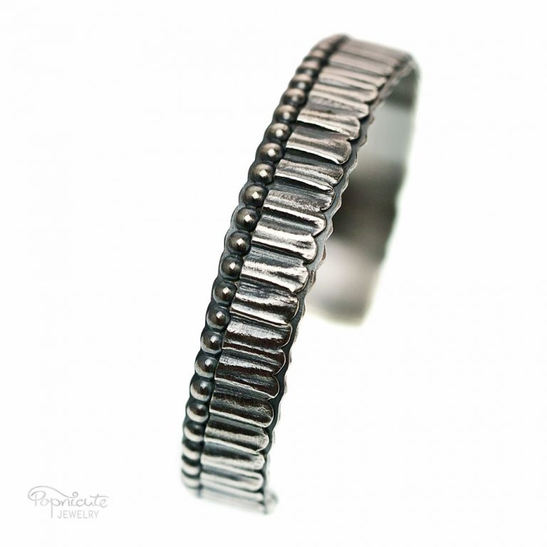 Unisex Skinny Sterling Silver Cuff with Pleats Detail.