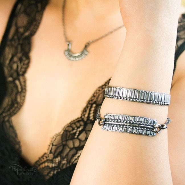 Unisex Skinny Sterling Silver Cuff Bangle by Popnicute Jewelry on model.