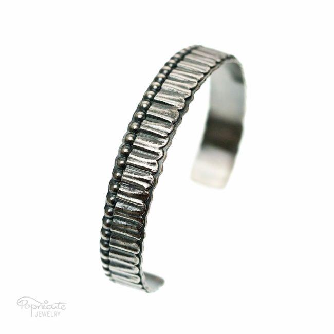 Unisex Skinny Sterling Silver Cuff by Popnicute Jewelry. Side view