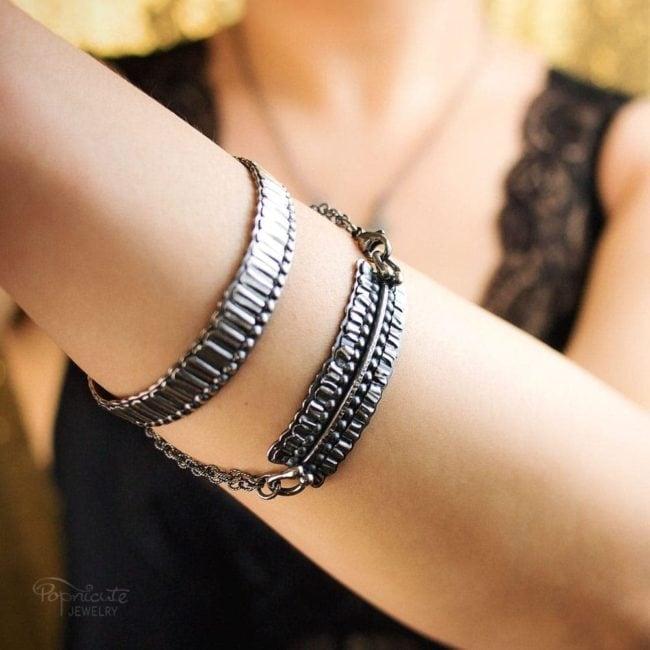 Sterling Silver Bar Bracelet by Popnicute Jewelry on model.