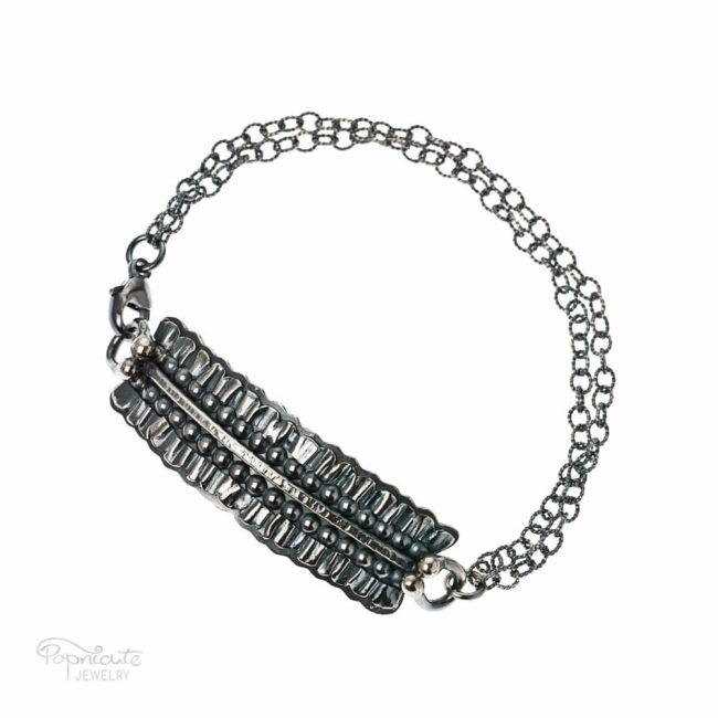 Sterling Silver Bar Bracelet by Popnicute Jewelry with Pleats and Beads