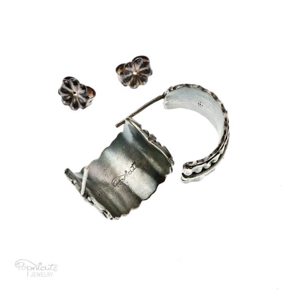 Wide Silver Hoop Earrings Bridal Jewelry by Popnicute Jewelry. Back side