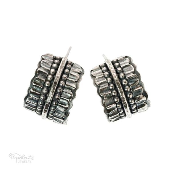Wide Silver Hoop Earrings Bridal Jewelry by Popnicute Jewelry.