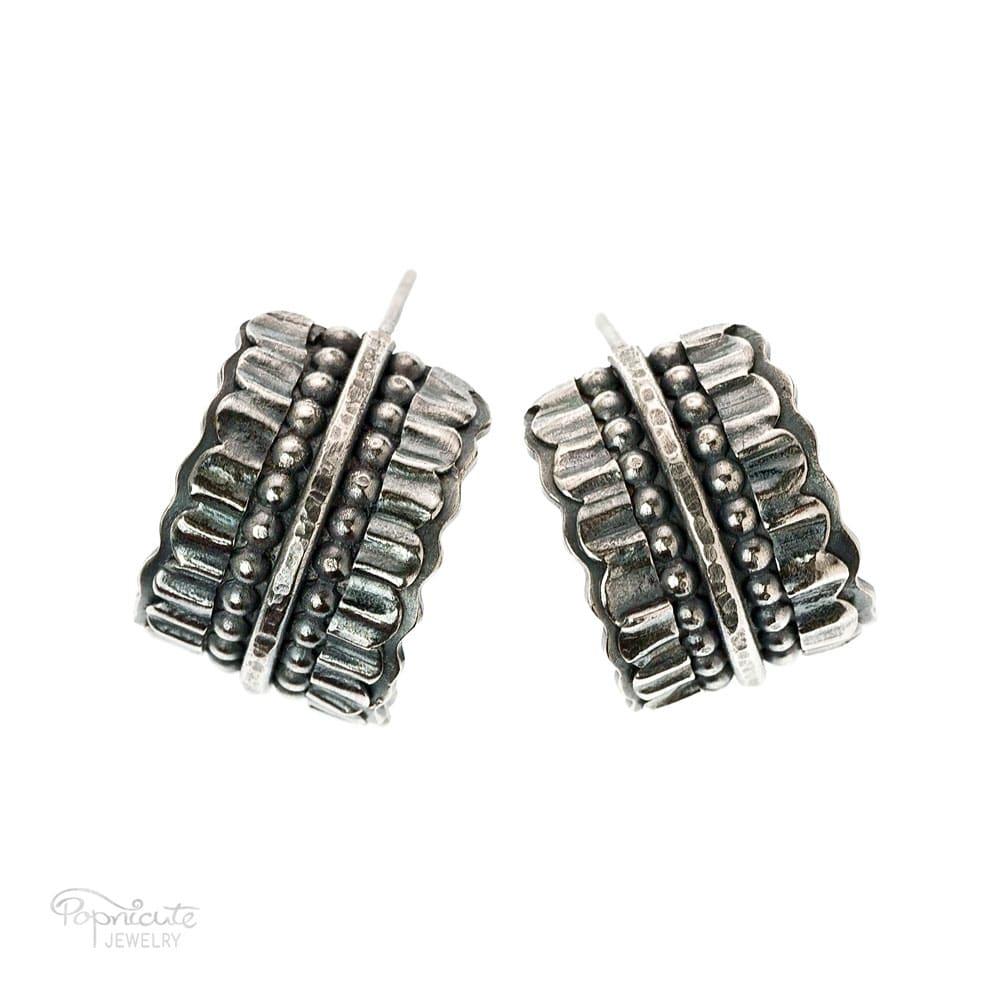 Wide Silver Hoop Earrings Bridal Jewelry By Popnicute