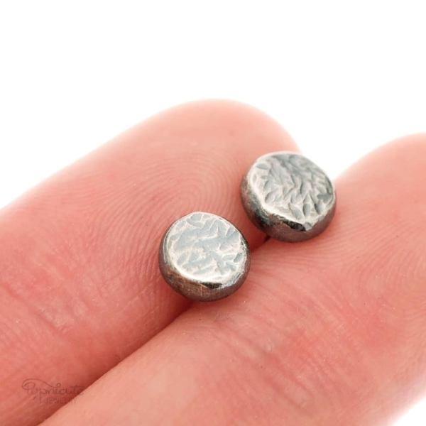Sterling Silver Pebble Stud Earrings by Popnicute Jewelry