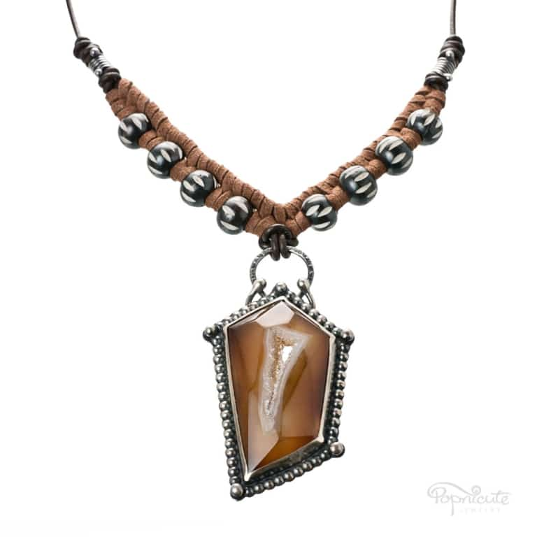 Pentagon Beaded Agate Necklace