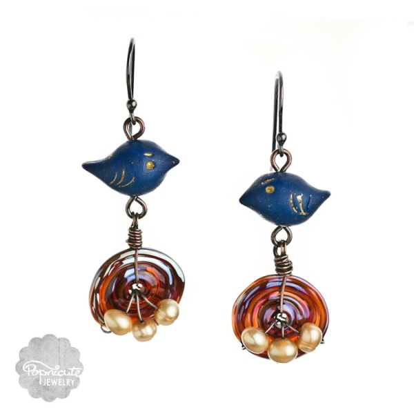 Lapis Lazuli Blue Bird Nests Earrings by Popnicute Jewelry
