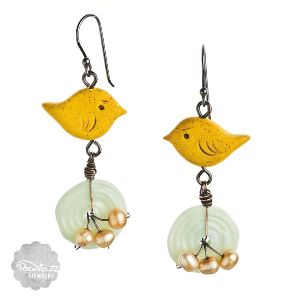 Yellow Canary Bird Nests Earrings by Popnicute Jewelry