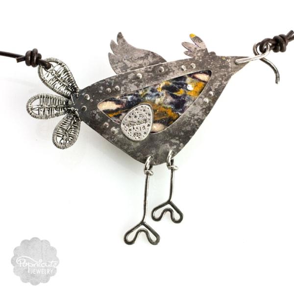 Argentium Silver Whimsical Bird Bib Necklace by Popnicute Jewelry