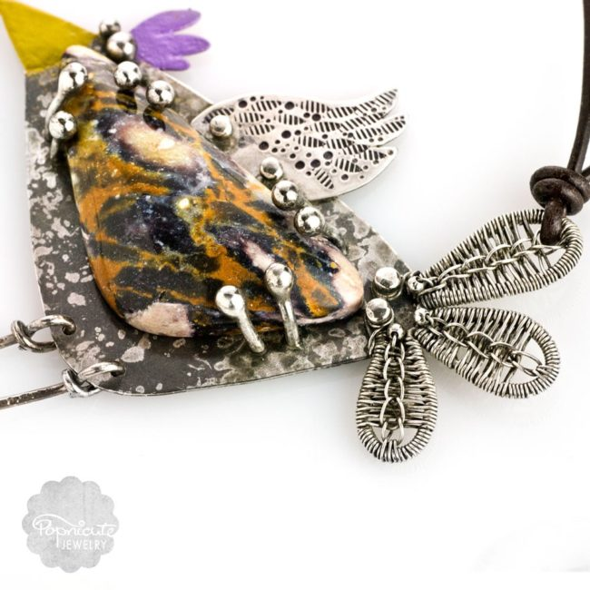 Argentium Silver Whimsical Bird Bib Necklace by Popnicute Jewelry