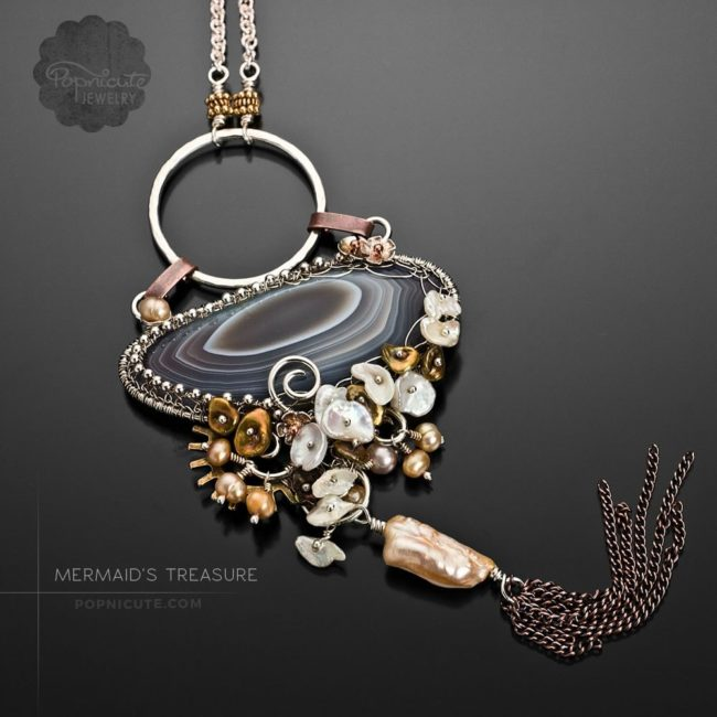 Botswana agate argentium silver mermaid necklace by Popnicute Jewelry