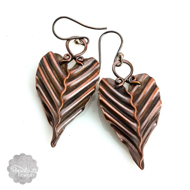 Corrugated handcrafted copper leaf earrings by Popnicute Jewelry