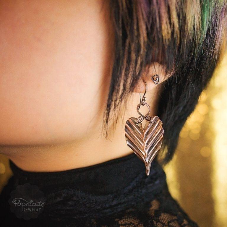 Copper Leaf Earrings – M